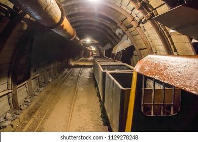 underground mine with railroad track