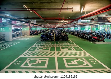 Underground motorcycle parking and handicapped parking in the High-speed railway station,28 May 2018.Taiwan,Taichung city