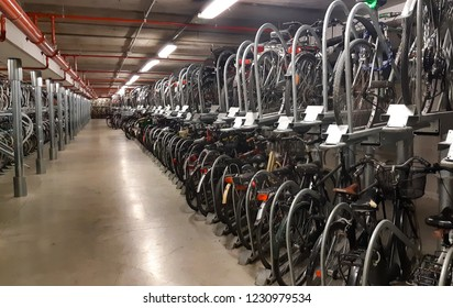 Underground parking for bicycles in the center of Florence, Italy.