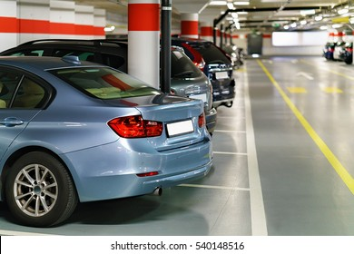 Underground Parking garage with cars at Zermatt train station