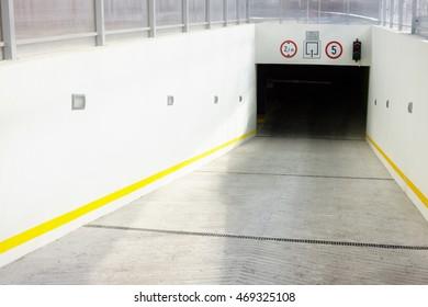 Underground parking garage entrance