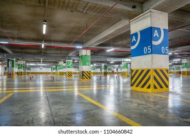 Underground parking Garage with many free places