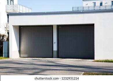 Underground parking, modern garage door, Germany