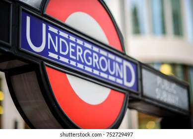 Underground roundel marks the tube station entrance, Bank and Monument Stations, London, England, November 2017