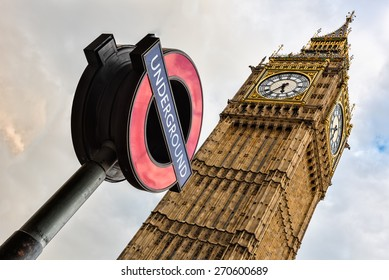 The 'Underground' sign and 'Big Ben' tower
