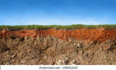 underground soil layer of cross section earth, erosion ground with grass on top