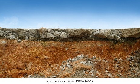 underground soil layer of cross section earth, erosion ground with concrete on top