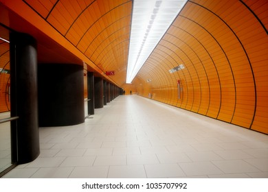 Underground station of Marienplatz in Munich - Germany, long passage connecting the lines S and U