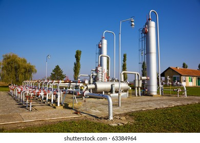 Underground storage of natural gas. Factory distribution, and industrial processing of natural gas. Many pipelines and construction.