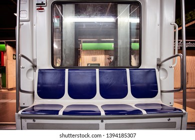 Underground subway train interior. Public transport