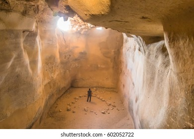 Underground tank for storing water in the ancient fortress of Masada - Israel