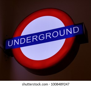 Underground traditional sign lamp for the London Underground Transportation System In London.