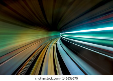 Underground train tunnel with motion effects.