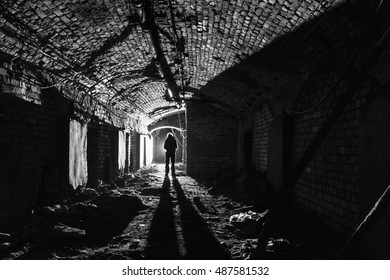 Underground tunnel in abandined factory.