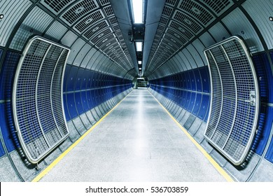 Underground tunnel in the London tube train network