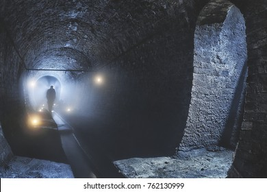 Underground tunnel and river
