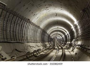 Underground tunnel. Subway tunnel