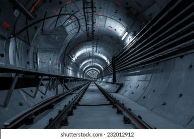 Underground tunnel for the subway leading deep down