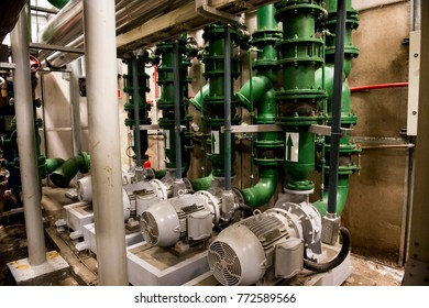 Underground water pump station in commercial building
