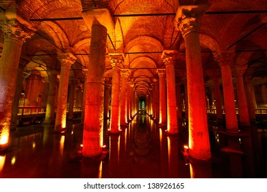 Underground water storage Yerebatan Sarayi (Basilica Cistern), Istanbul, Turkey