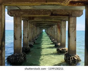 Underneath Dromana Pier on a sunny day