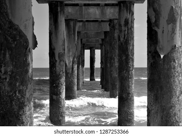 Underneath view of fishing pier Florida, USA