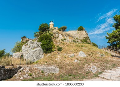 Underneath view of the lighthouse at the old fort of Corfu city. Greece 2020.