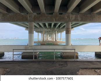 Underpass beneath Biscayne Bay Bridge