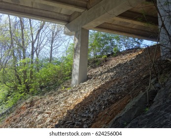 The underside of a bridge on a nature trail during a bright and sunny day. East Tennessee, USA.