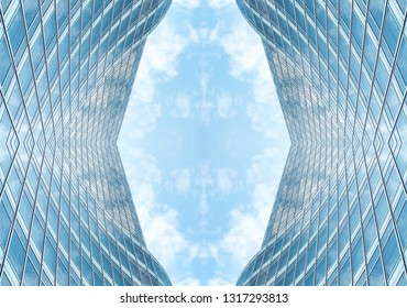 underside panoramic and perspective view to steel blue glass high rise building skyscrapers, business concept of successful industrial architecture