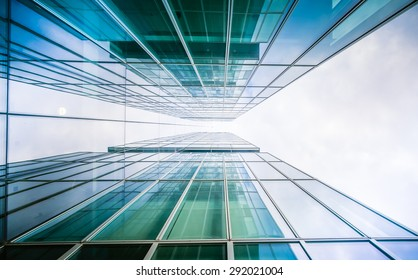 underside panoramic and perspective view to steel glass high rise building skyscrapers, business concept of successful industrial architecture