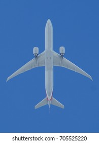 Underside of Passenger Jet Flying Overhead