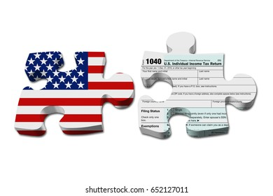 Understanding how to do your taxes, Two puzzle pieces with the flag of the USA and a US Federal tax 1040 income tax form isolated over white 3D Illustration
