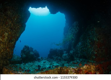 An underwater archway at Western Rocky in the Mergui Archipelago, Myanmar