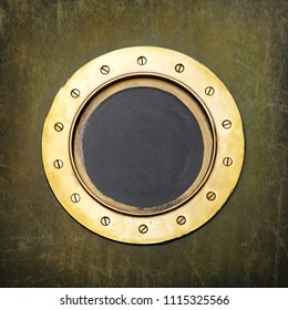 Underwater armored porthole in brass with brass screws or window metal background.