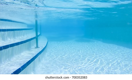 Underwater in a blue swimming pool