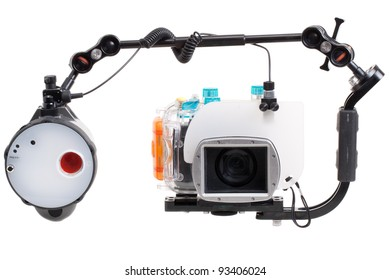 underwater camera with strobe, isolated on white background