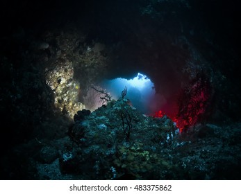 Underwater cave with multi colored lighting