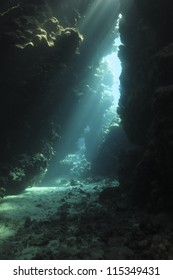 Underwater cave system, beautiful game of the light  - St. Jones area - Red sea, Egypt
