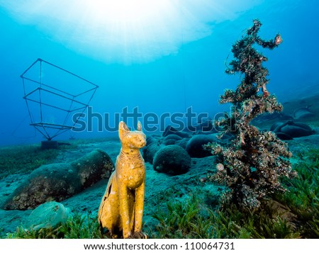 Underwater Christmas Tree Egyptian Cat Statue Stock Photo Edit Now