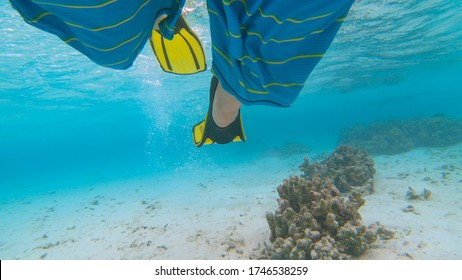 UNDERWATER, CLOSE UP: Snorkeler wearing fins kicks while exploring the ocean near Maldives. Male tourist wears flippers to explore the ocean floor full of bleached corals. Man diving with flippers