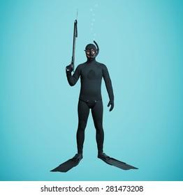 underwater fisherman in full equipment with spear fishing gun over blue background