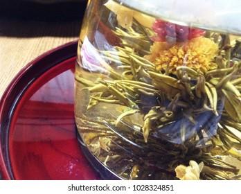 Underwater flower Chinese tea Tray