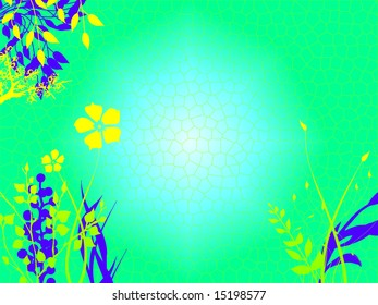 Underwater Foliage Growing On Sea Ocean Bed with  a light Blue Tone and Green and Purple Flowers Plants Grass Illustration Design