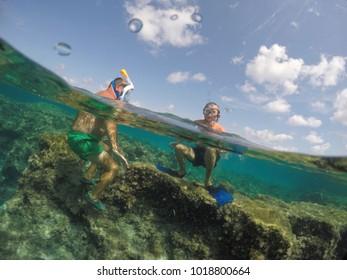 Underwater image in Formentera island Balearics Spain Es Calo de San Agusti coast