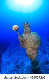 An underwater manmade statue
