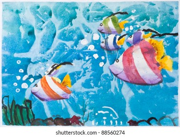 Underwater and marine's life, Kid's watercolor painting on paper