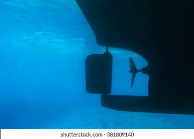 Underwater part of ship with marine propeller and steering gear