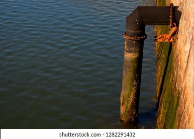 Underwater pipeline at docks
