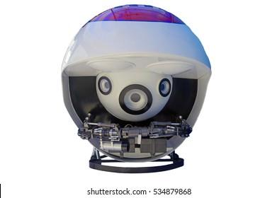 Underwater robots folded isolated on white background